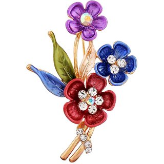 Maayra Multicolour Brooch Party wear Saree pin Pretty Flowers Crystal Studded