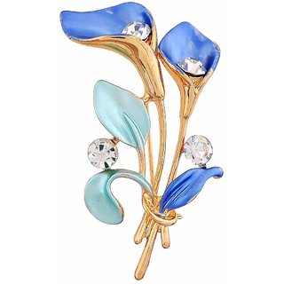 Maayra Blue Brooch Party wear Saree pin Tulips Leaves Crystal Studded