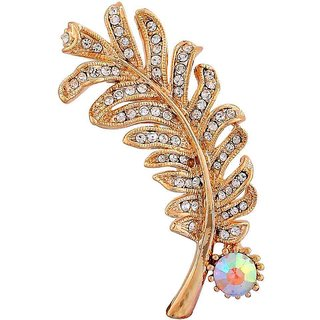 Maayra Golden Brooch Party wear Saree pin Leaf Crystal Studded