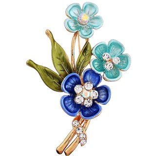 Maayra Blue Green Brooch Party wear Saree pin Pretty Flowers Crystal Studded