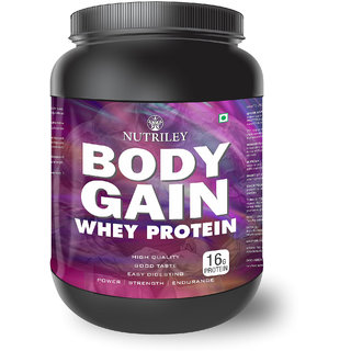 Nutriley Body Gain - Body Weight / Muscle Gainer Whey Protein Supplement  (1 KG)-Chocolate