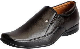 Fausto Men's Brown Formal Slip On Shoes
