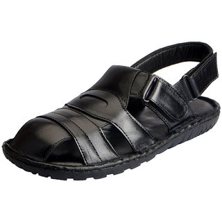92753ba45820 Buy Fausto Men s Black Leather Outdoor Floaters and Sandals Online - Get  11% Off