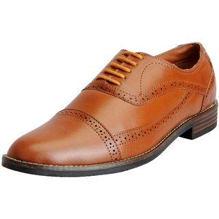 Fausto Mens Tan Formal Lace Up Brogue Shoes