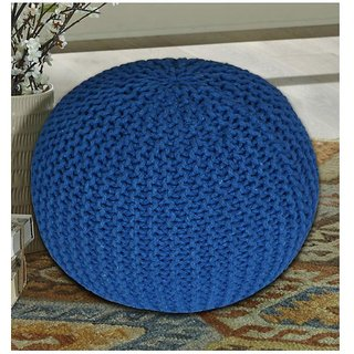 The Intellect Bazaar Premium Knitted Pouf (15*15*14 inches) Blue