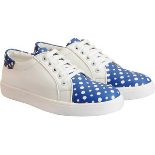 Fausto Women's Blue Dotted Sneakers Casual Shoes
