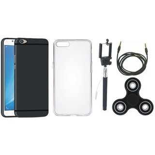 Redmi Note 5 Silicon Anti Slip Back Cover with Spinner, Silicon Back Cover, Selfie Stick and AUX Cable