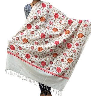 Varun Cloth House Womens Aari Zaal Full Work Embroided Woolen Kashmiri Shawl