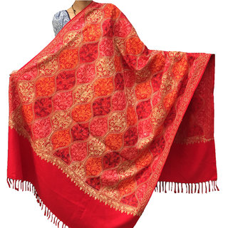 Varun Cloth House Womens Aari Zaal Full Work Embroided Woolen Kashmiri Shawl