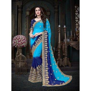 Manohari Designer Blue Georgette Saree