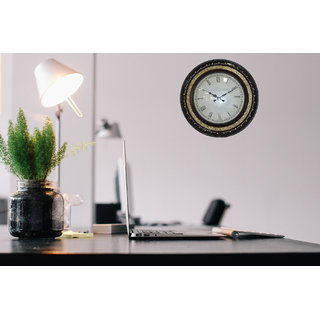 Master Crafts Multicolor Wooden With Brass Work Wall Clock
