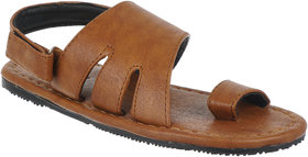 Quarks Men's Tan Faux Leather Casual Sandal