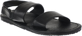 Quarks Men's Black Faux Leather Casual Sandal