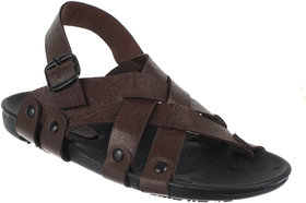 Quarks Men's Brown Faux Leather Casual Sandal