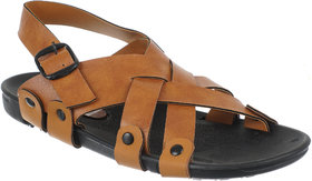 Quarks Men's Tan Faux Leather Casual Sandal