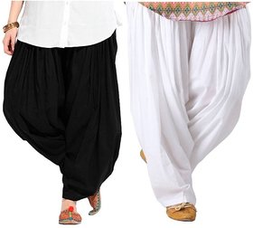 Evection Premium Cotton Full Patiala Salwar Pant Set of 2- Black & White