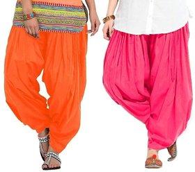 Evection Premium Cotton Full Patiala Salwar Pant Set of 2- Orange & Pink