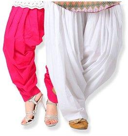 Evection Premium Cotton Full Patiala Salwar Pant Set of 2- Pink  White