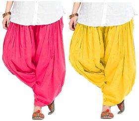 Evection Premium Cotton Full Patiala Salwar Pant Set of 2- Pink & Yellow