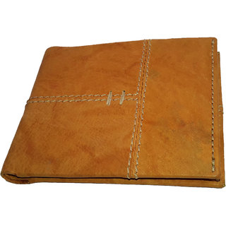 NUKAICHAU Tan Single Fold Mens Leather Wallet (88 TAN 3 card COIN A)