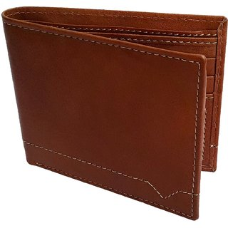 NUKAICHAU Tan Single Fold Mens Leather Wallet (89 tan 6 card)