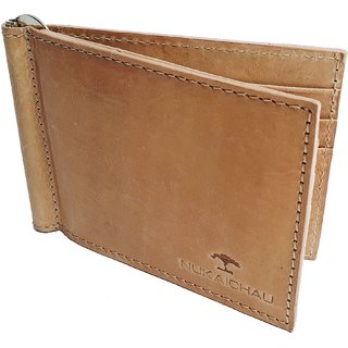 NUKAICHAU Tan Hunter Mens Leather Money Clip (68 clip hunt 6 card tan)