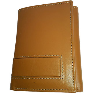 NUKAICHAU Tan Double Fold Mens Leather Wallet (74 FLD TAN 5 card COIN ZIP)