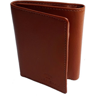 NUKAICHAU Tan Double Fold Mens Leather Wallet (75 fld tan 5 card coin zip a)