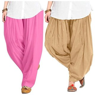 Evection Premium Cotton Full Patiala Salwar Pant Set Of 2  Beige U0026 Light  Pink
