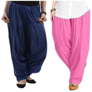 Evection Premium Cotton Full Patiala Salwar Pant Set of 2- Light-Pink & Navy-Blue