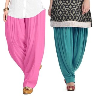 Evection Premium Cotton Full Patiala Salwar Pant Set of 2- Light-Pink & Sea-Green