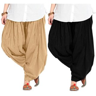 Evection Premium Cotton Full Patiala Salwar Pant Set of 2- Beige & Black