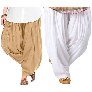 Evection Premium Cotton Full Patiala Salwar Pant Set of 2- Beige & White