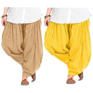 Evection Premium Cotton Full Patiala Salwar Pant Set of 2- Beige & Yellow