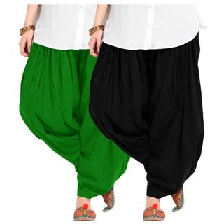 Evection Premium Cotton Full Patiala Salwar Pant Set of 2- Black & Green