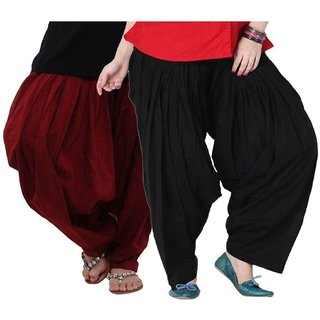Evection Premium Cotton Full Patiala Salwar Pant Set of 2- Black & Maroon