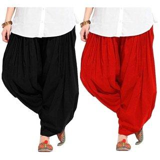 Evection Premium Cotton Full Patiala Salwar Pant Set of 2- Black & Red