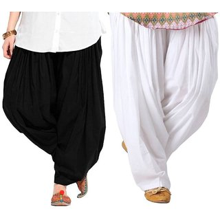 Evection Premium Cotton Full Patiala Salwar Pant Set of 2- Black & White