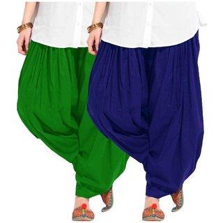 Evection Premium Cotton Full Patiala Salwar Pant Set of 2- Blue & Green