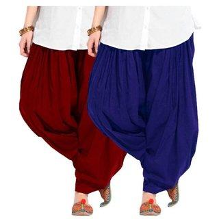 Evection Premium Cotton Full Patiala Salwar Pant Set of 2- Blue & Maroon