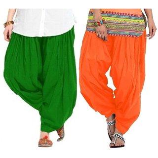 Evection Premium Cotton Full Patiala Salwar Pant Set of 2- Green & Orange