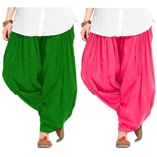 Evection Premium Cotton Full Patiala Salwar Pant Set of 2- Green & Pink