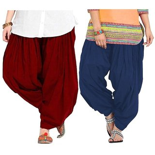 Evection Premium Cotton Full Patiala Salwar Pant Set of 2- Maroon & Navy-Blue