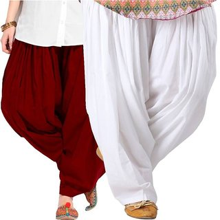 Evection Multicolor Premium Cotton Full Patiala Salwar Pant Set of 2- Maroon & White