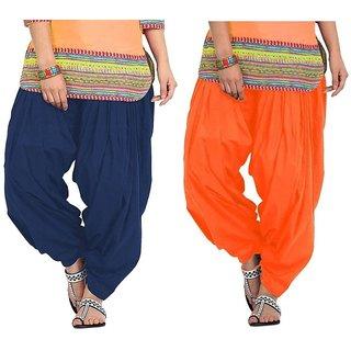Evection Premium Cotton Full Patiala Salwar Pant Set of 2- Navy-Blue & Orange