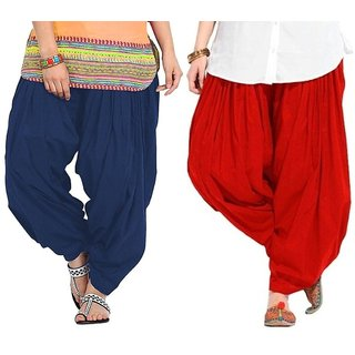 Evection Premium Cotton Full Patiala Salwar Pant Set of 2- Navy-Blue & Red