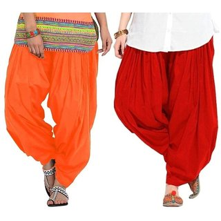 Evection Premium Cotton Full Patiala Salwar Pant Set of 2- Orange & Red