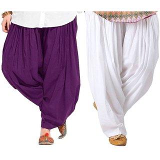 Evection Premium Cotton Full Patiala Salwar Pant Set of 2- Purple & White