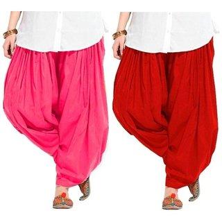 Evection Premium Cotton Full Patiala Salwar Pant Set of 2- Pink & Red