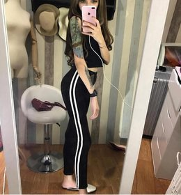 Code Yellow Women's White Double Narrow Side Stripe Stretchable Black Jeggings Yoga Gym Wear